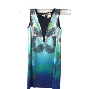 Aryeh Dress NWT Paisley Zip Front Small Blue